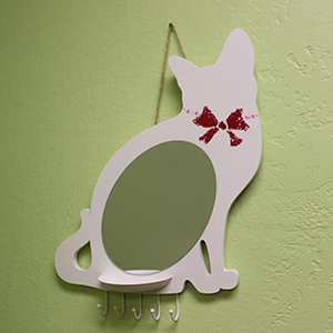 Cat Wall Mirror with Tray & Hooks