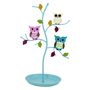 Colorful Owls Jewelry Stand with Circular Tray Blue