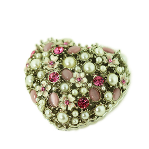 Heart Trinket Box with Pearls and Crystals
