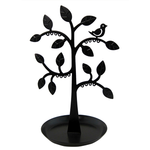 Cut Out Bird Tree Jewelry Stand with Tray