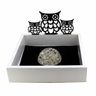 Cut Out Owl Stationary Tray With Paper Weight