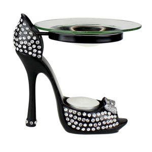 Diamond Collection Heeled Shoe Oil Burner Black