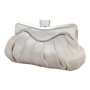 Elegant Crystal Wave Cluch Purse Beige