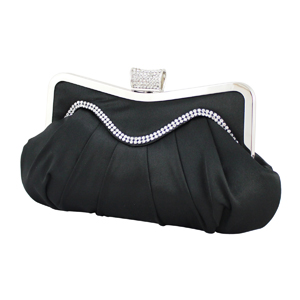 Elegant Crystal Wave Cluch Purse Black