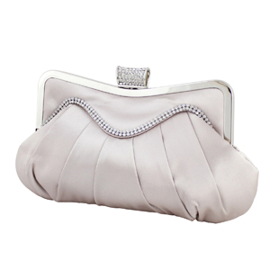 Elegant Crystal Wave Cluch Purse Pale Pink