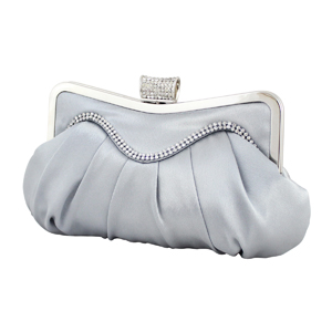Elegant Crystal Wave Cluch Purse Silver