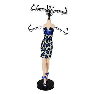Glamour Wild Leopard Cocktail Dress Mannequin Jewelry Stand Blue