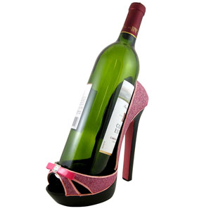 Glitter Wine Bottle Holder Open Toe Stiletto Pink