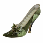Glittering Ribbon Bow Ring Holder Shoe Sequined Green