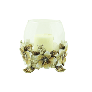 Hibiscus Candle Holder with Crystals Beige