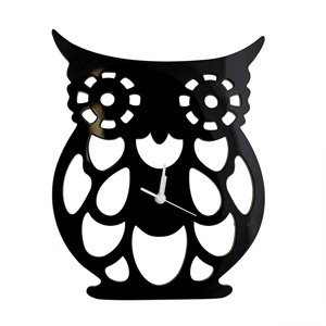 Large Black Cut Out Owl Wall Clock