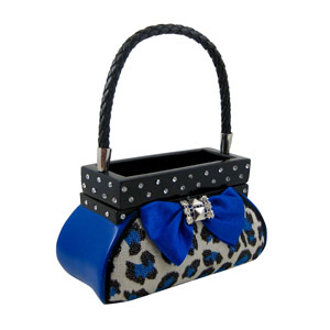 Leopard Jewelry Box Handbag Blue