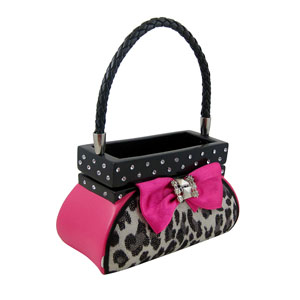 Leopard Jewelry Box Handbag Fuchsia