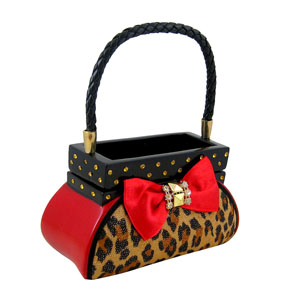 Leopard Jewelry Box Handbag Red