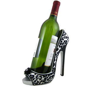 Leopard Print Wine Bottle Holder Open Toe Shoe Grey