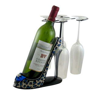 Leopard Wine Bottle and Glasses Holder Heel Blue