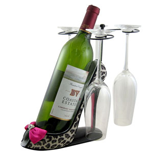 Leopard Wine Bottle and Glasses Holder Heel Fuchsia