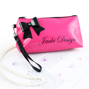 Mademoiselle Cosmetic Bag with Wristlet Hot Pink