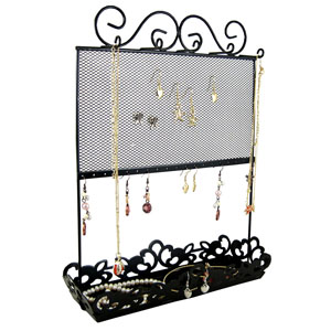 Metal Screen and Tray Jewelry Holder Black