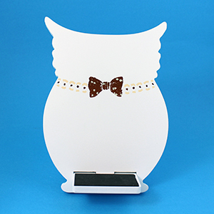 Owl Tablet / iPad Holder Wood Stand White