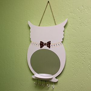 Owl Wall Mirror with Tray & Hooks