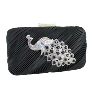 Peacock Clutch Evening Purse Black