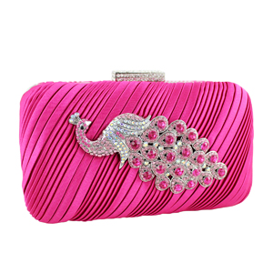 Peacock Clutch Evening Purse Hot Pink