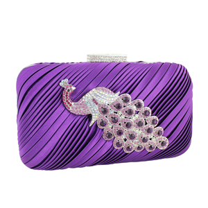 Peacock Clutch Evening Purse Purple