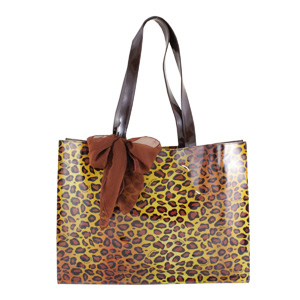 Pin Up Cheetah PVC Tote Bag Large Brown