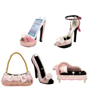 Pink Rose Shoe Couch Purse Ring Holders Cell Phone Holder Set of 5