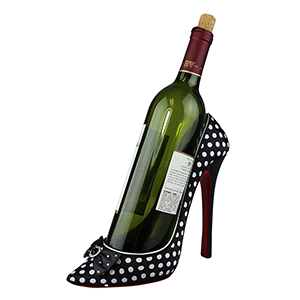 Polka Dot Heeled Shoe Wine Bottle Holder Black and White