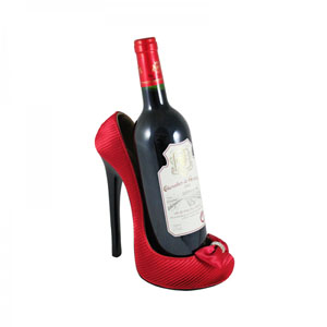 Red Pleated Satin Shoe Wine Bottle Holder