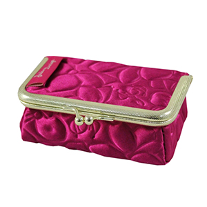 Retro Chic Clasp Cosmetic/Jewelry Bag Hot Pink