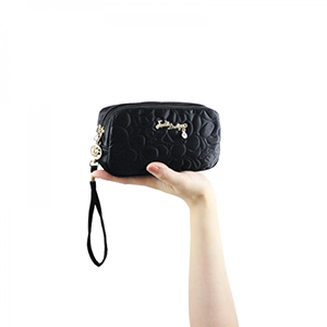 Retro Chic Cosmetic Bag with Wristlet Black