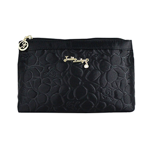 Retro Chic Flat Cosmetic Bag Black