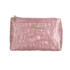 Retro Chic Flat Cosmetic Bag Blush