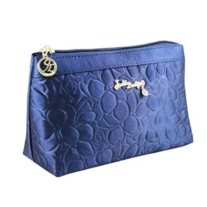 Retro Chic Flat Cosmetic Bag Navy Blue