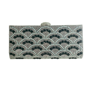 Rhinestone and Pearls Evening Clutch Black