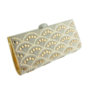 Rhinestone and Pearls Evening Clutch Gold