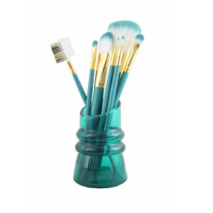 Sassy and Bright 7pc Makeup Brush and Holder Set Emerald