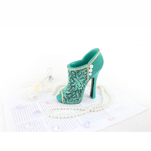 Sassy and Bright Boot Cosmetic Brush Holder Emerald
