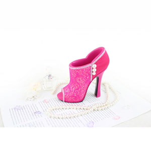 Sassy and Bright Boot Cosmetic Brush Holder Hot Pink