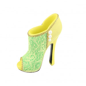 Sassy and Bright Boot Cosmetic Brush Holder Yellow