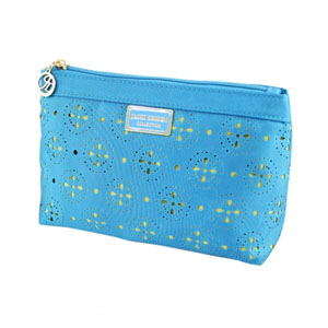 Sassy and Bright Flat Cosmetic Bag Blue