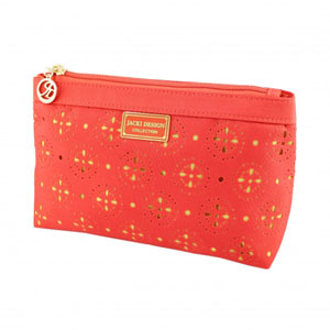 Sassy and Bright Flat Cosmetic Bag Coral