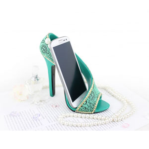 Sassy and Bright Shoe Cell Phone Holder Emerald