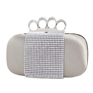 Shimmering Crystals Clutch Purse Beige