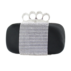 Shimmering Crystals Clutch Purse Black