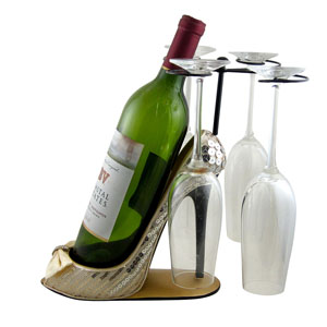 Sleek and Shiny Wine Bottle Glasses Holder Heel Ivory