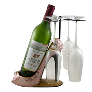 Sleek and Shiny Wine Bottle Glasses Holder Heel Pink